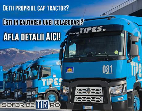 Colaborare tractionisti - soferi de TIR cu cap tractor propriu.