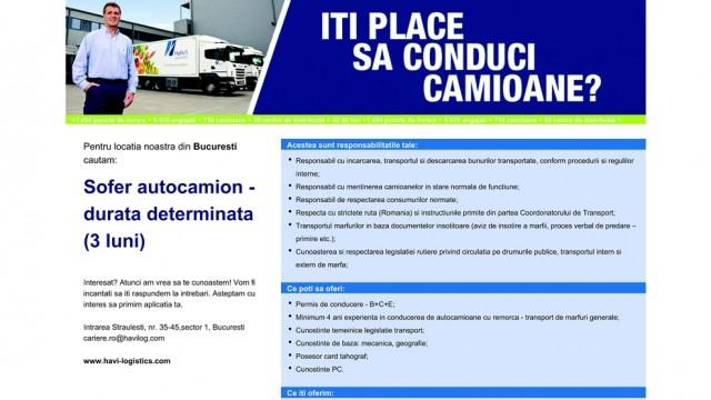 Angajare soferi Havi Logistics Bucuresti